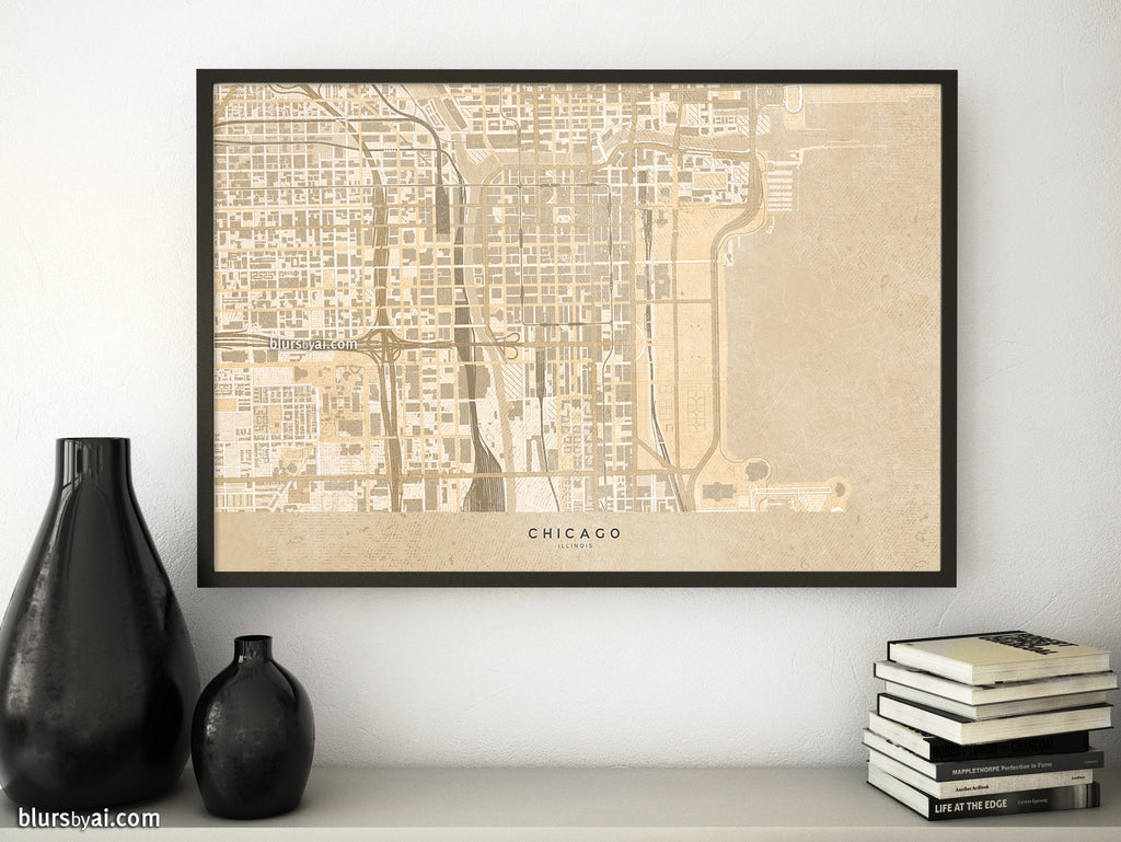 Printable map of Chicago, Illinois, en vintage sepia style