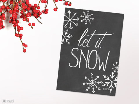 Let it snow Christmas card in chalkboard style