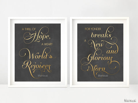 O Holy Night Carol lyrics quote prints in gold and chalkboard, set of 2