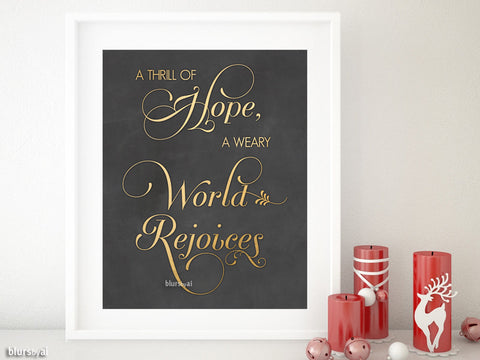 A Thrill of Hope, carol lyrics quote printable in gold and chalkboard