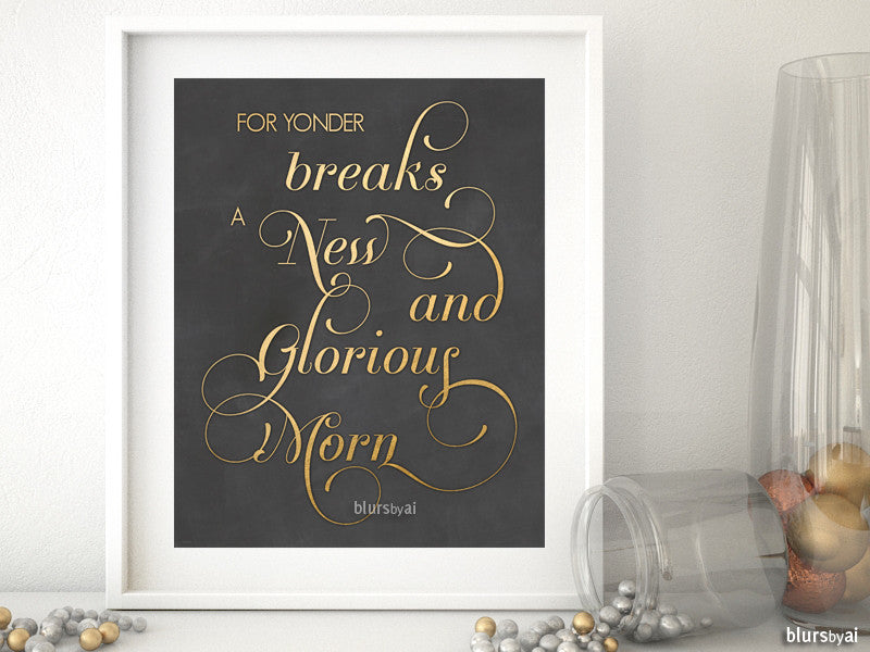 New and Glorious Morn Carol lyrics quote printable Christmas decor in gold and chalkboard