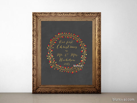 Customized printable sign: Our first Christmas as Mr & Mrs in gold wreath