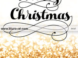 Printable Merry Christmas holiday decor in gold glitter