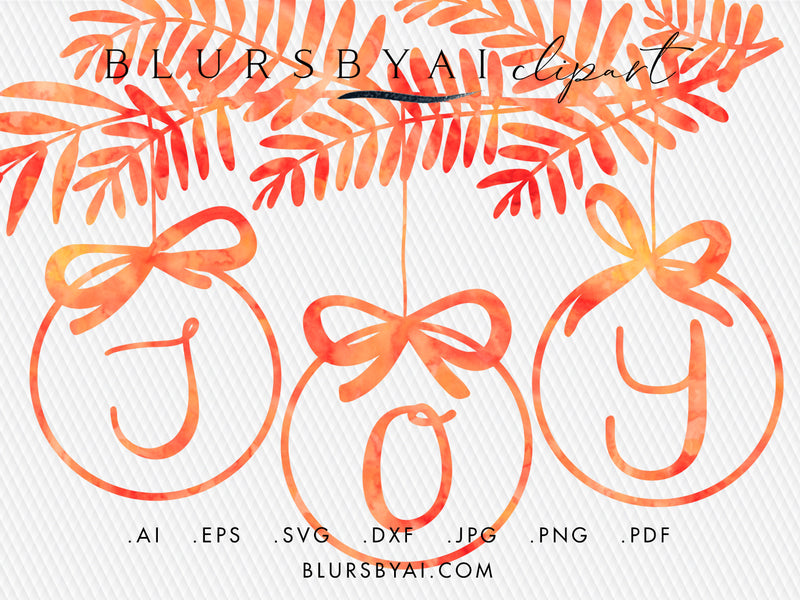 Vector hand illustrated baubles with greenery (svg, eps, ai...)