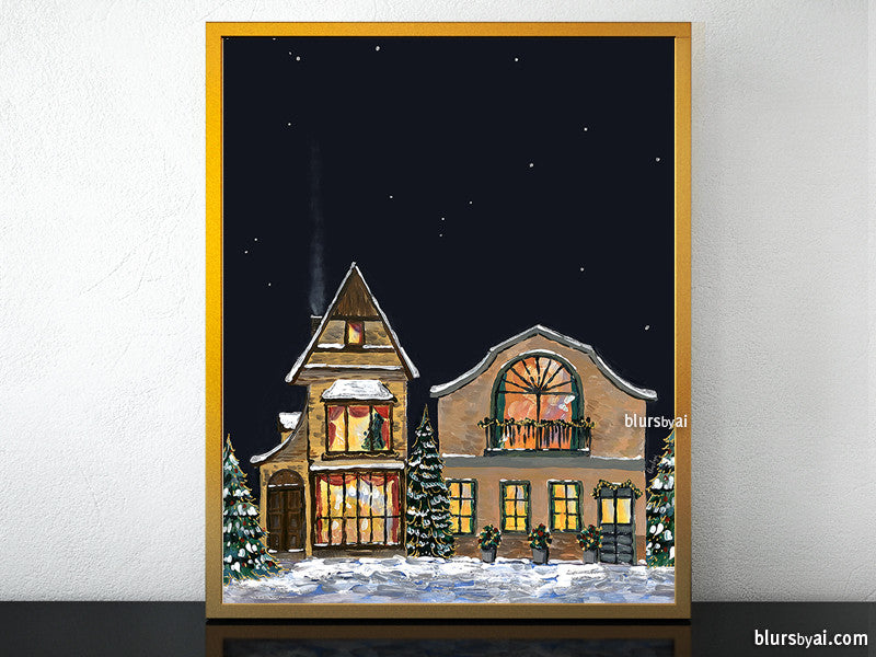 Printable Christmas village illustration