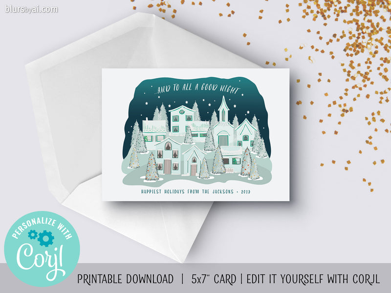 Personalized printable Christmas card: hand illustrated Christmas village - Edit with Corjl
