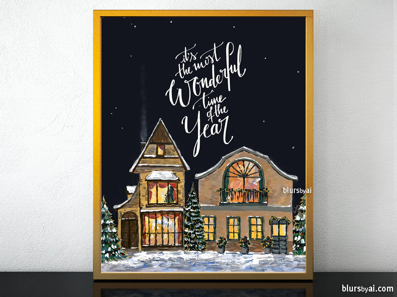 Printable Christmas village illustration, It's the most wonderful time of the year