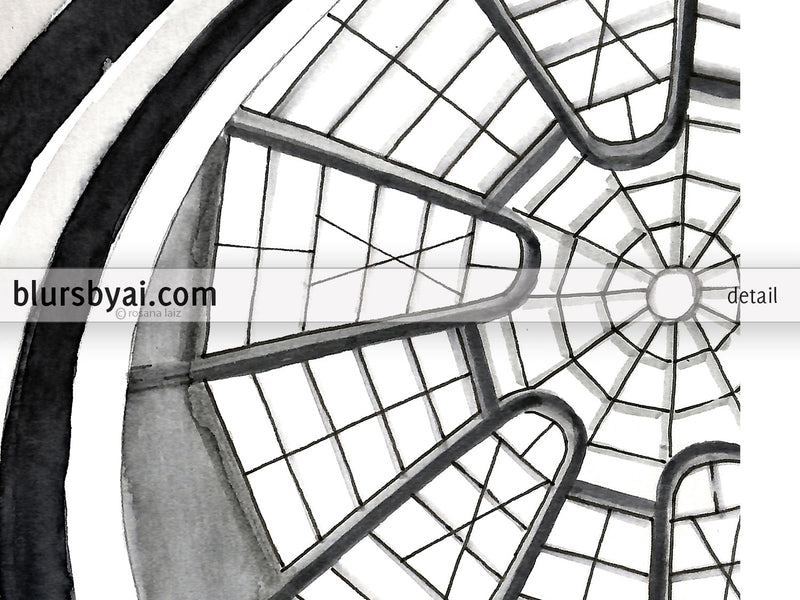 Printable watercolor architectural sketch: Guggenheim Museum NY interior - For personal use only