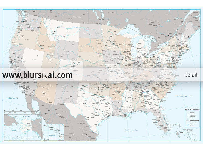 "Custom USA map with cities, canvas print or push pin map in light and muted colors. ""Keane"""