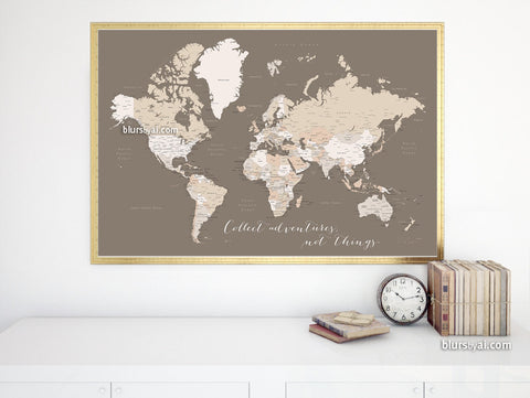 "Printable world map with cities labelled, large 36x24"", Collect adventures, not things"
