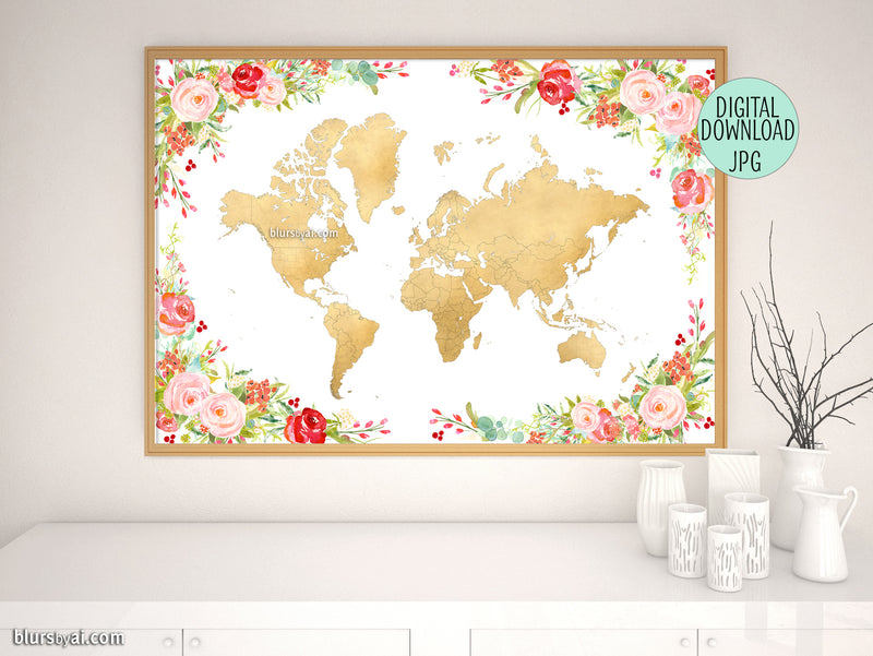 "Colorful floral gold foil world map printable art, 36x24"" - For personal use only"