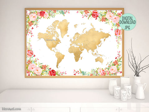 Colorful floral gold foil world map printable art, 36x24""