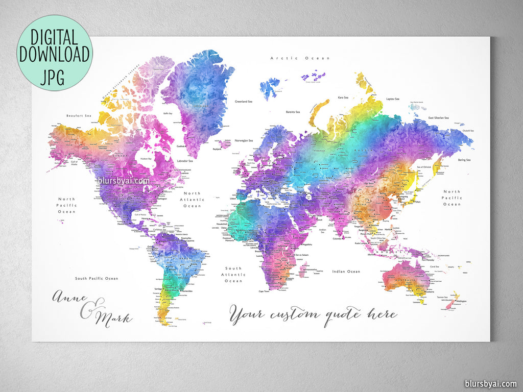 Custom quote printable world map with cities in bright colorful watercolor.  Color combination: \