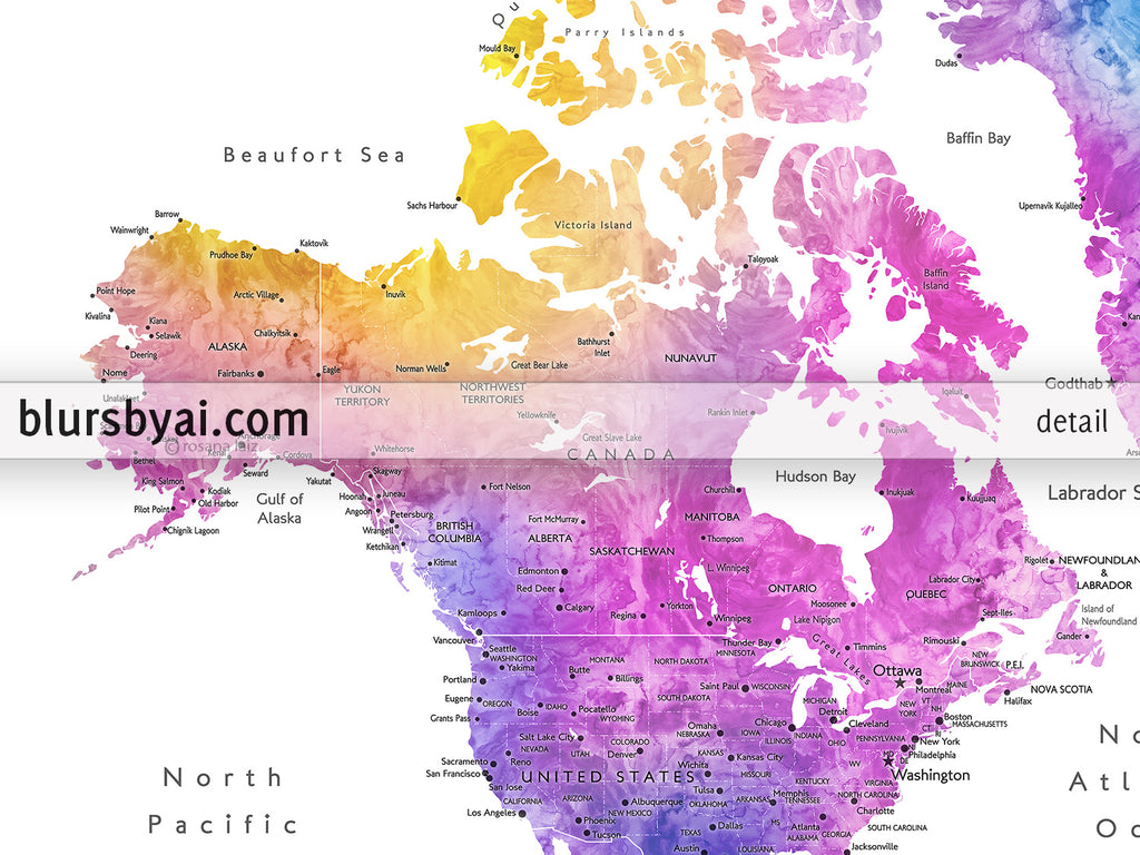 "Custom world map with cities, canvas print or push pin map in bright and fun watercolors. ""Syris"""