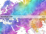 "Personalized world map with cities, canvas print or push pin map in bright and fun watercolors. ""Syris"""