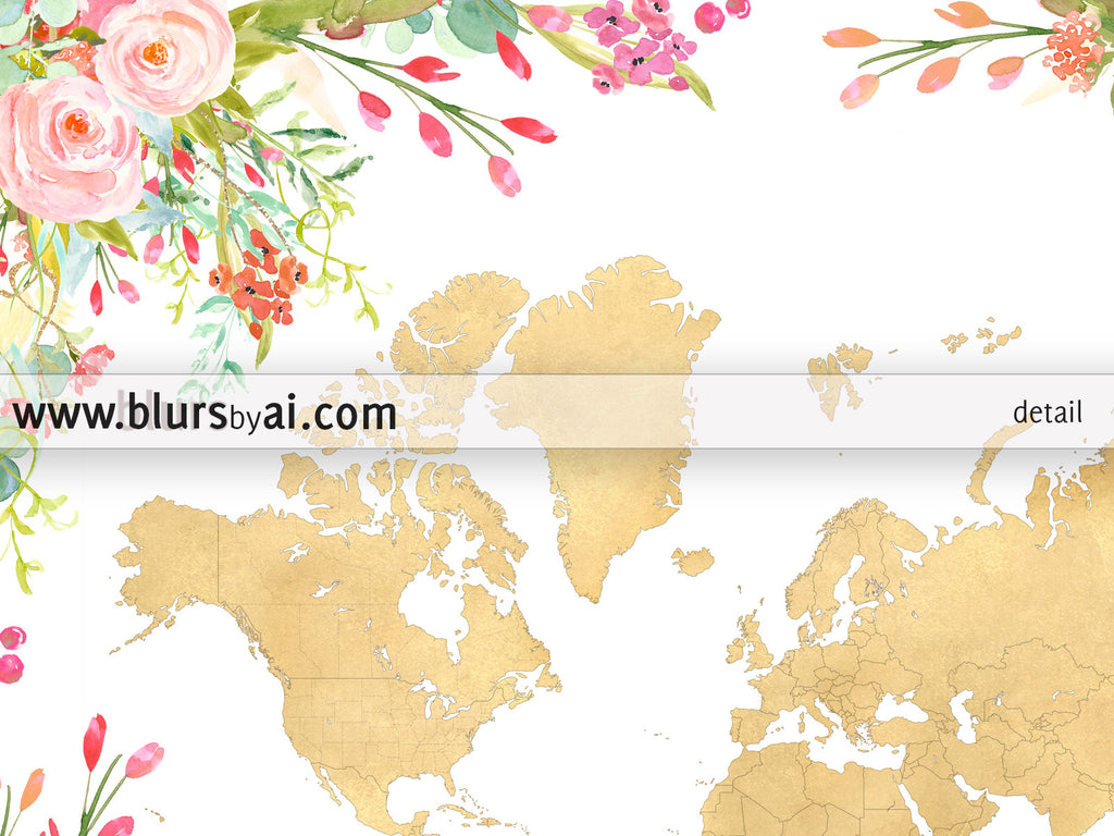 Printable colorful floral world map in gold foil blursbyai printable colorful floral world map in gold foil gumiabroncs Choice Image