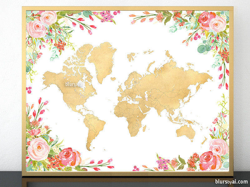 Printable colorful floral world map in gold foil blursbyai printable colorful floral world map in gold foil gumiabroncs Images