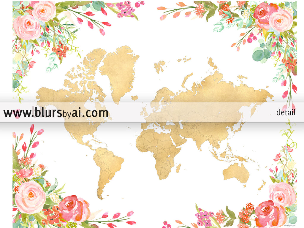 Printable colorful floral world map in gold foil - For personal use only