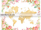 Printable colorful floral world map in gold foil