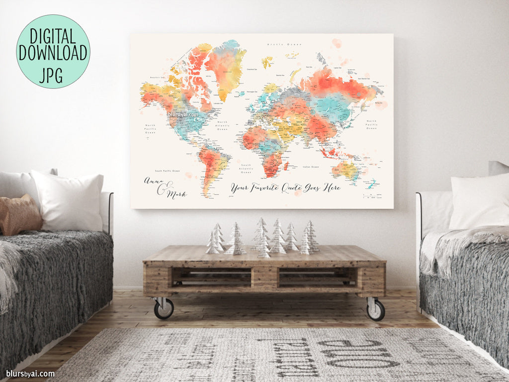 "Custom quote - colorful watercolor printable world map with cities, capitals, countries, US States... labeled. ""Fifi"""