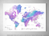 "Personalized world map with cities, canvas print or push pin map in bright purple and blue. ""Violetta"""