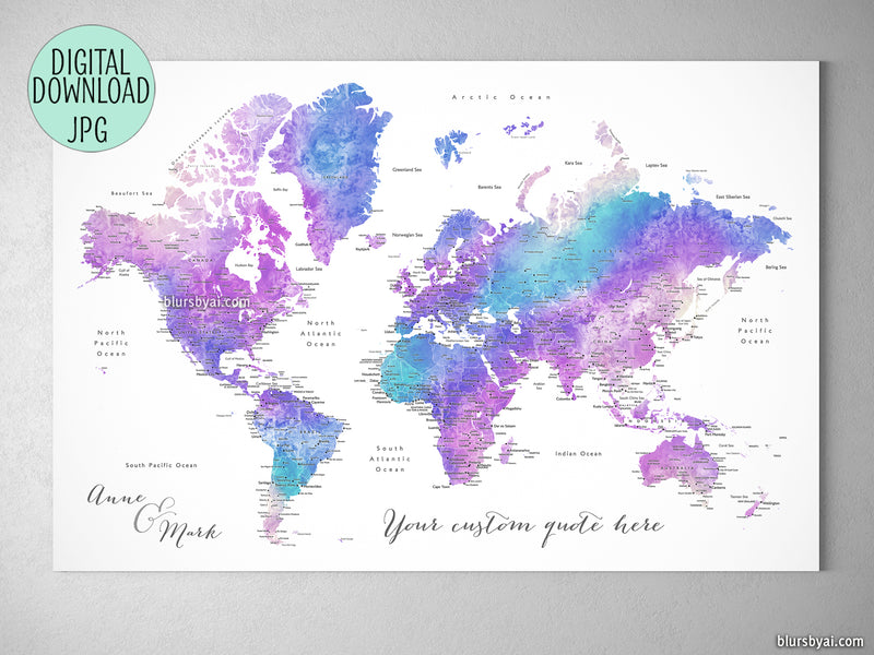 Custom quote - purple and blue watercolor printable world map with cities Color combination: Violetta