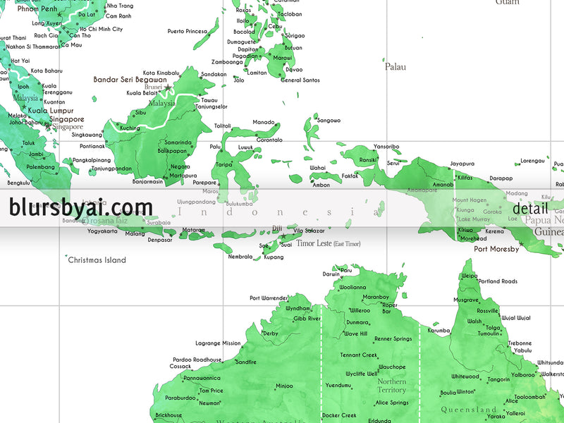 "Customized PRINTABLE highly detailed world map with cities. ""Jude"""