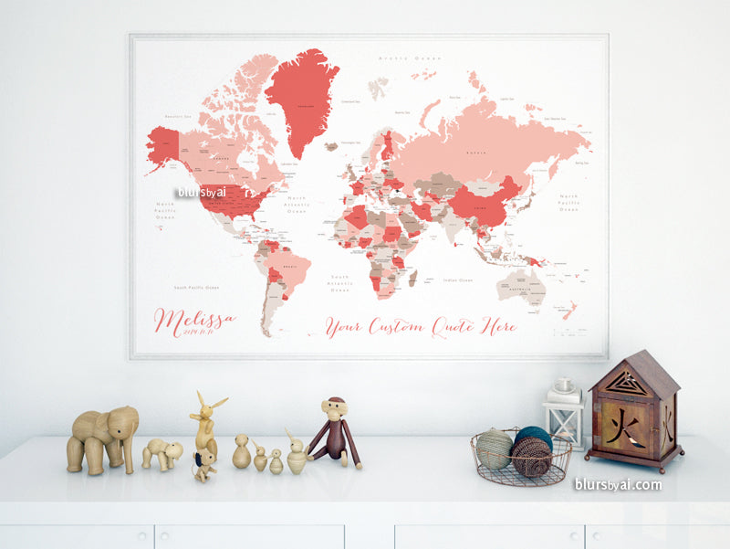 Custom map print: world map with countries and states in coral and taupe.