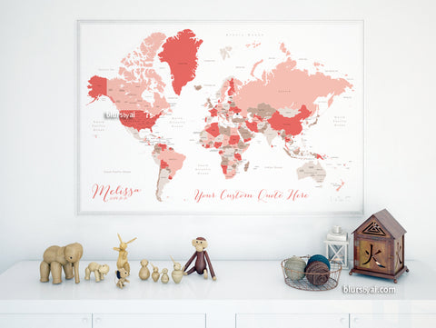 Personalized map print: world map with countries and states in coral and taupe.