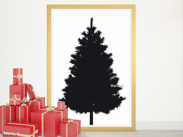 Black silhouette printable Christmas tree alternative, large