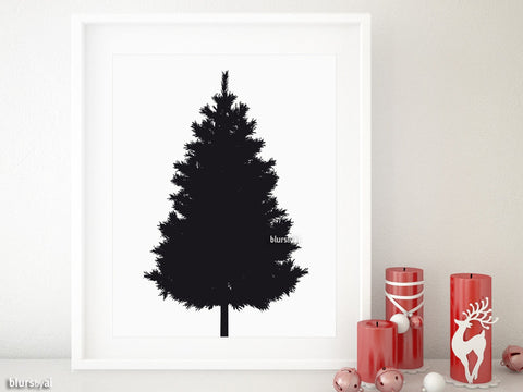 Black silhouette printable Christmas tree alternative, small