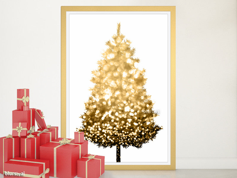 Black and gold sparkle printable Christmas tree alternative, large