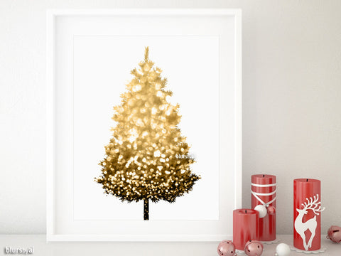 Black and gold sparkle printable Christmas tree alternative, small