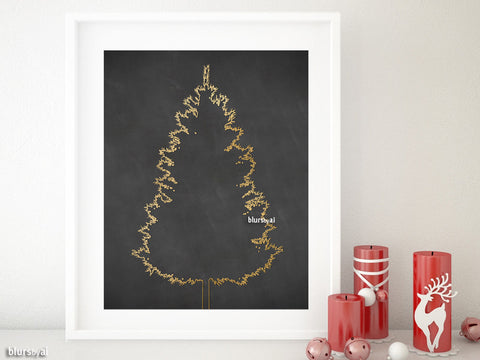 Gold foil Christmas tree alternative, small