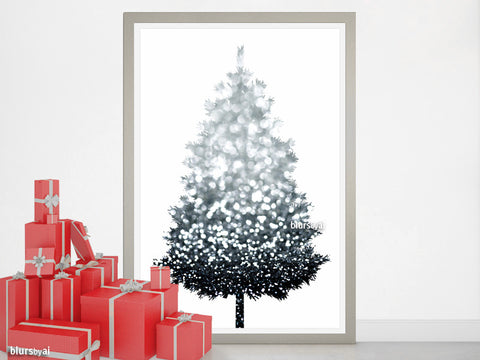 Silver glitter Christmas tree alternative, large