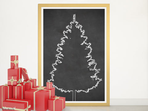 Chalkboard Christmas tree alternative, large