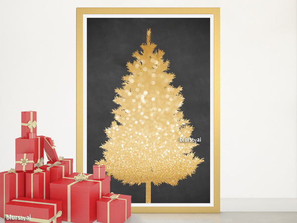 Gold and chalkboard Christmas tree alternative, large 20x30""