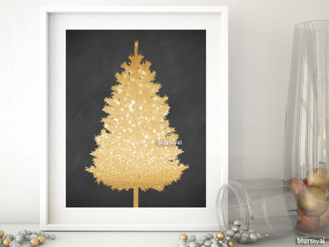 Gold and chalkboard Christmas tree alternative, small