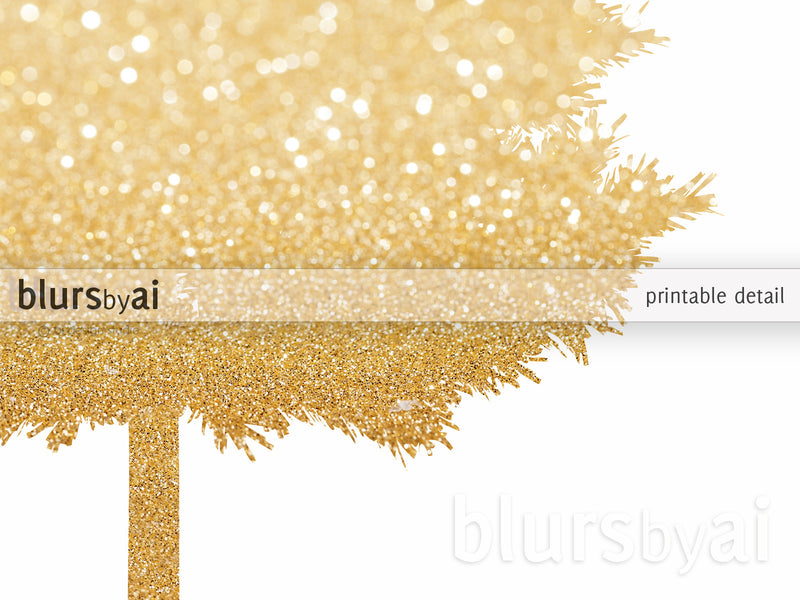 "Gold glitter Christmas tree alternative, large 20x30"" printable"