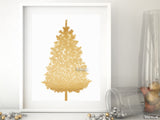 Gold glitter Christmas tree alternative, small