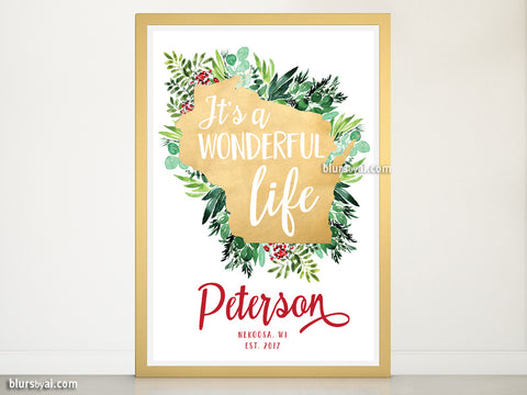 "Custom family name art print - ""It's a beautiful life in Wisconsin"""