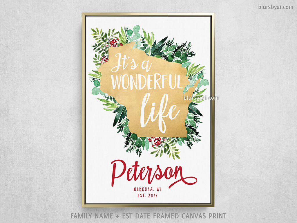 "Custom family name canvas print, ""It's a wonderful life in Wisconsin"""