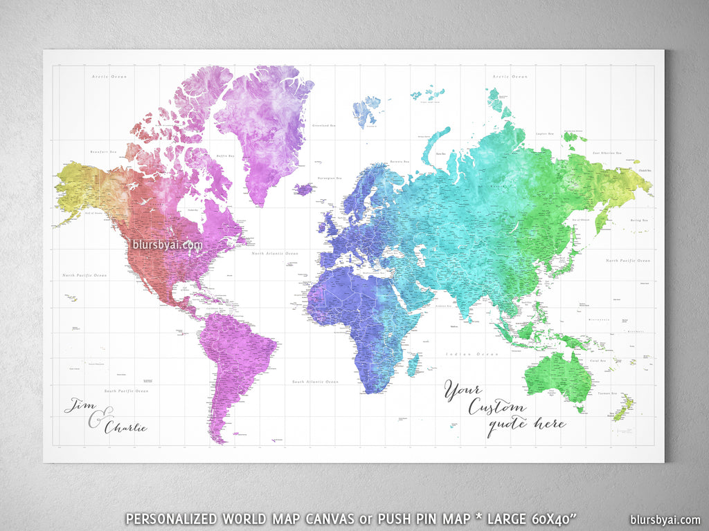 "Custom large & highly detailed world map canvas print or push pin map, colorful gradient watercolor. ""Jude"""