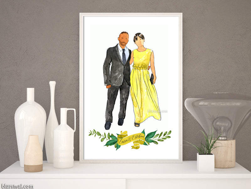 Printable family portrait in watercolor