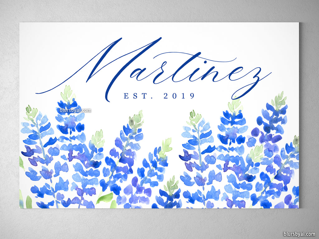 "Custom family name canvas print, ""Watercolor Texas bluebonnets"""