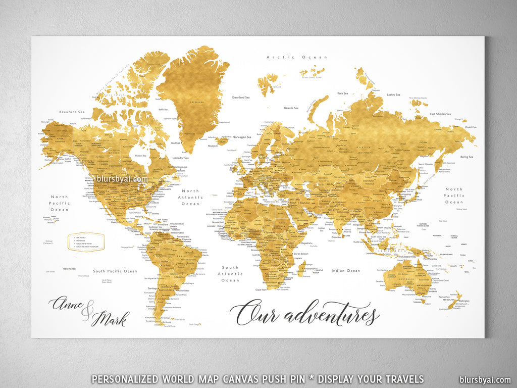 Personalized world map with cities canvas print or push pin map in