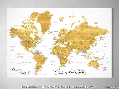 "Personalized world map with cities, canvas print or push pin map in shades of gold. ""Rossie"""
