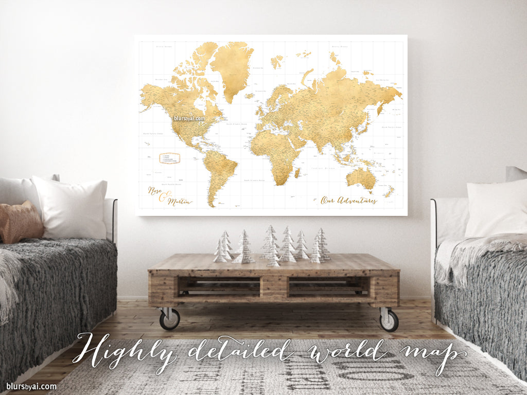 "Custom large & highly detailed world map canvas print or push pin map. ""Rossie"""