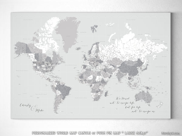 Custom large & highly detailed gray world map canvas print or push pin map.  \