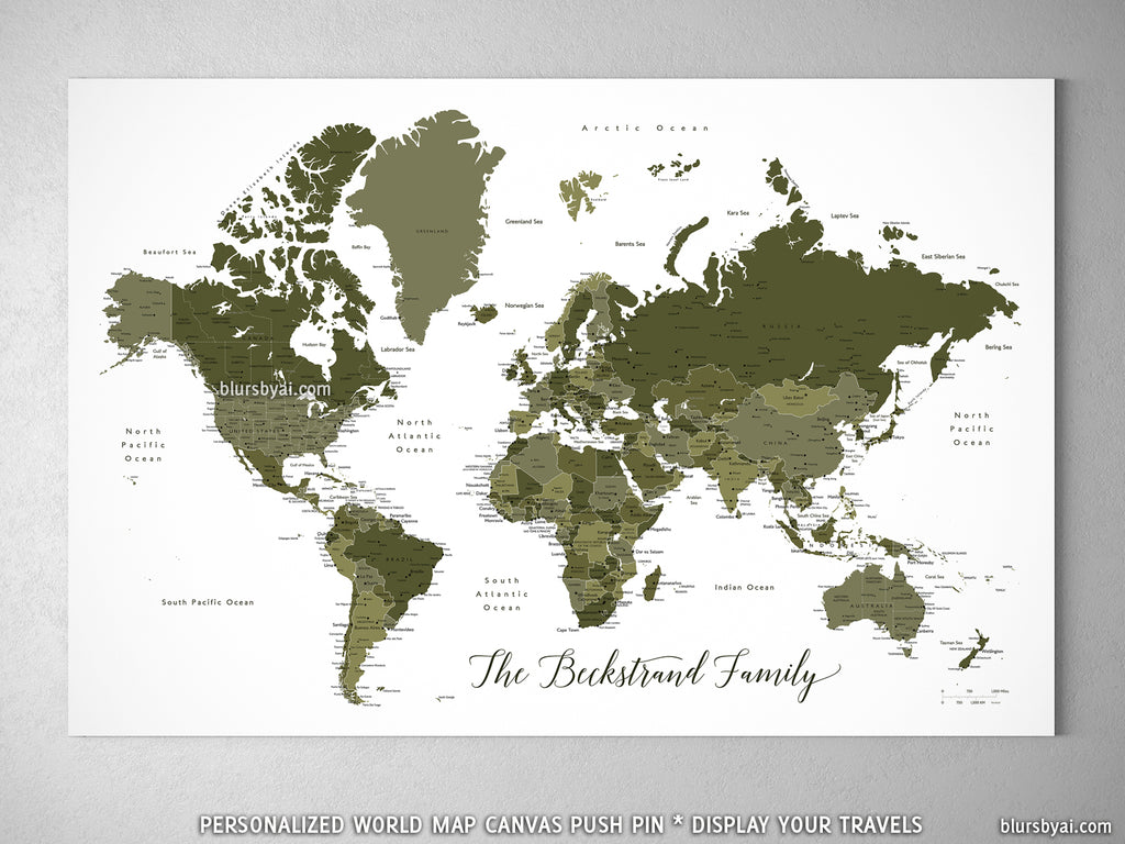 Personalized world map with cities canvas print or push pin map in personalized world map with cities canvas print or push pin map in military green gumiabroncs Gallery